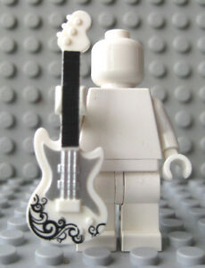 Custom-ELECTRIC-GUITAR-For-Lego-Minifigures-Rock-amp-Roll-White-Silver-Black