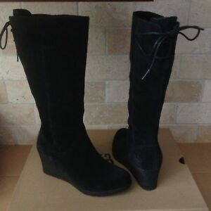 436b0b409ef Details about UGG Dawna Black Waterproof Suede Bow Wedge Knee High Boots  Size US 5 Womens