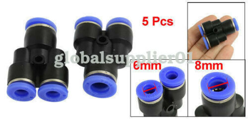 A● 5 Pcs 6mm to 8mm Air Pneumatic Y Shaped Push in Quick Fitting