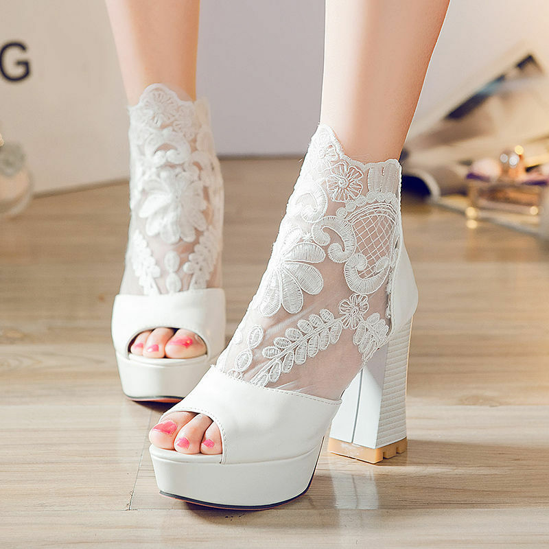 Women's Sexy Ankle Boots Summer Sandals Open Toe Lace Chunky Heels shoes LSCT1