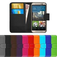 Premium Luxury Leather Flip Wallet Book Slim Pouch Case Cover For HTC One M9