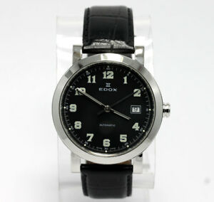 Mens-Edox-automatic-watch-stainless-steel-date-80049-leather-strap-Swiss-40-MM