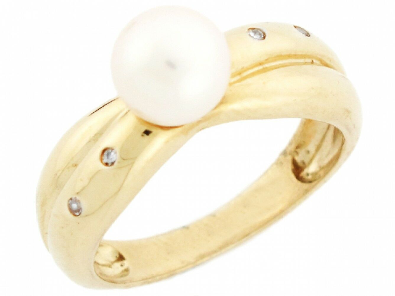 10k or 14k Solid Yellow gold Freshwater Cultured Pearl & CZ Criss Cross Ring