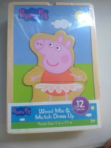 NEW Peppa Pig Wood Mix /& Match Dress Up Puzzle 12 Pieces w// wooden box CR-D2//22