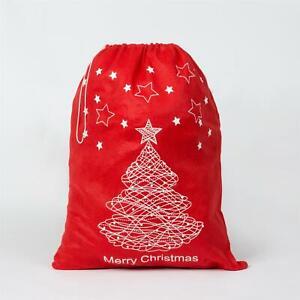 Feltro-Rosso-Buon-Natale-Babbo-Natale-Sacco-Grande-Calza-Natale-Regali-Regalo-Borse