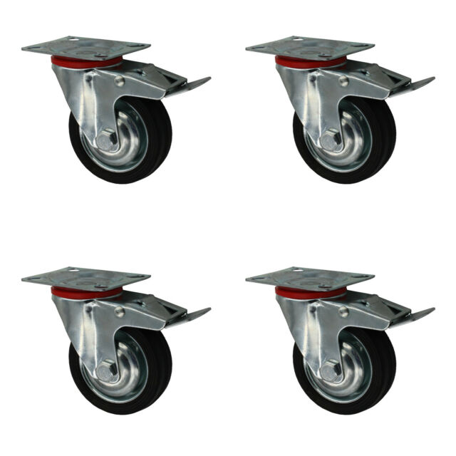 125 mm Transportgeräterollen Transportrollen als Bockrolle Vollgummi