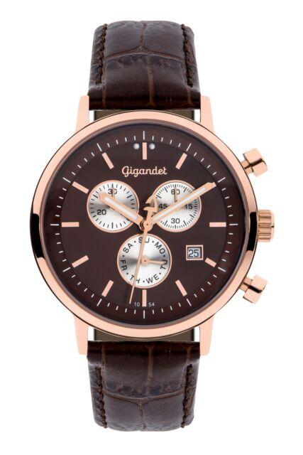 Gigandet CLASSICO Uhr Chronograph Datum Lederarmband Braun G6-009