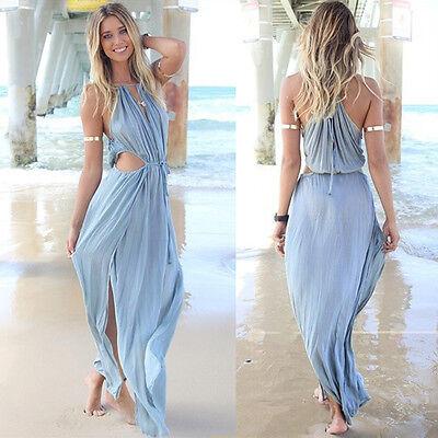 Sexy Sleeveless Women Summer Bohemia Long Maxi Evening Party Dress Beach Dress