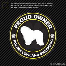 Proud Owner Polish Lowland Sheepdog Sticker Decal Adhesive Vinyl dog canine pet
