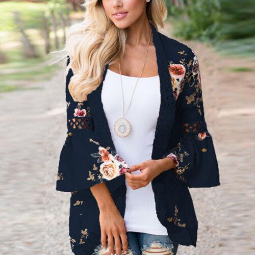 Boho Women/'s Cover Up Loose Floral Kimono Cardigan Ladies Jacket Top Plus Size