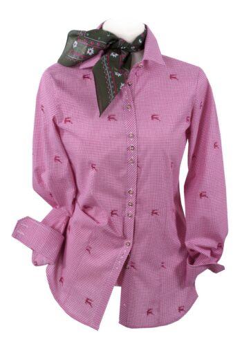 Trachtenbluse Damen Damenbluse Langarm Hirsch Premium Qualität kariert Pink