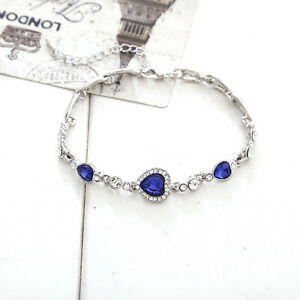 1Pc-Fashion-Femme-Bracelet-Blue-Heart-Crystal-Strass-Jewelry-Gift-Party-Neuf