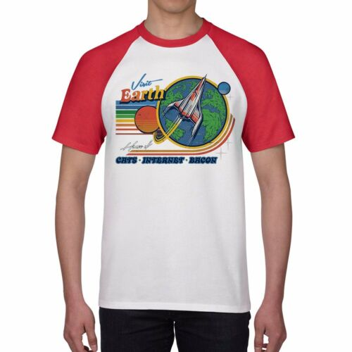 Visit Earth funny T-shirts Men/'s Ringer Red Cotton Short Sleeve Tops tee XXL