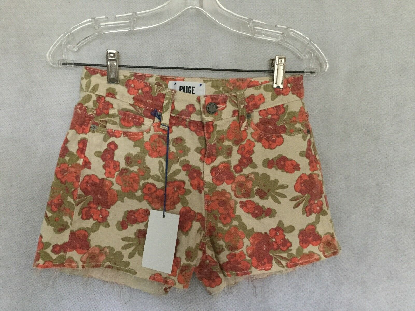 NWT Paige - 'Lola' Shorts - High Rise - Cut Off - Floral Print - Size 25