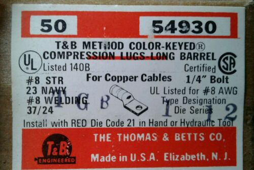 CASE OF 500. 54930 T/&B #8 COMPRESSION LUGS
