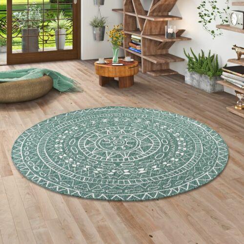 und Outdoor Teppich Beidseitig Flachgewebe Newport Mandala Grün Rund In