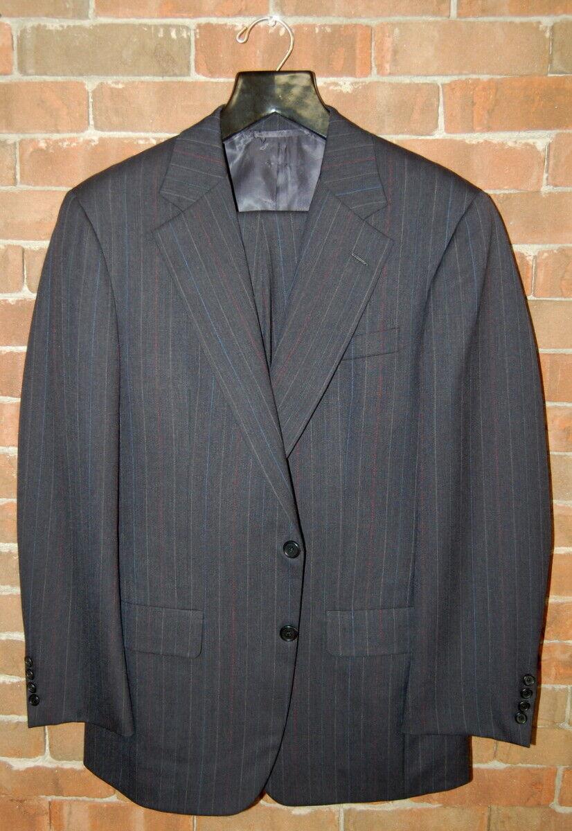 Klassisch 39 R Hickey kostenlosman Marineblau Nadelstreifen Wolle Anzug Flach 32x30