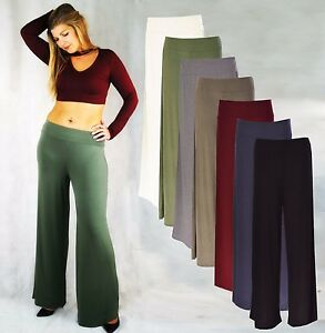 252c1577352 LADIES HIGH WAIST WIDE LEG LOOSE FIT STRETCHY PALAZZO PANTS TROUSER ...