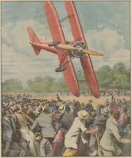 K1262 Gesto coraggioso del pilota Colombo a Parigi - Stampa d'epoca - 1934 print