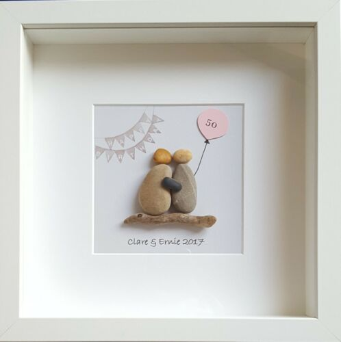 Framed Pebble Art Picture Personalised 40th 50th 60th 70th 80th Birthday