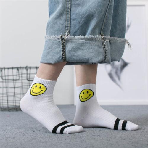Unisex Men Women Cotton Scoks Smile Face Striped Soft Ankle Casual Sock New  TPI
