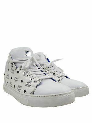 MCM White Black Heritage Leather High Tops Sz 40/7  Men's  Sneakers