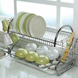 Image is loading 2-TIER-CHROME-KITCHEN-CUTLERY-CUP-DRAINER-RACK- & 2 TIER CHROME KITCHEN CUTLERY CUP DRAINER RACK DRIP TRAY PLATES ...