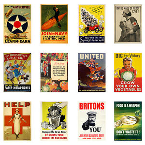 II-World-War-Propaganda-A3-or-A4-Vintage-Retro-Poster-26-posters-to-choose