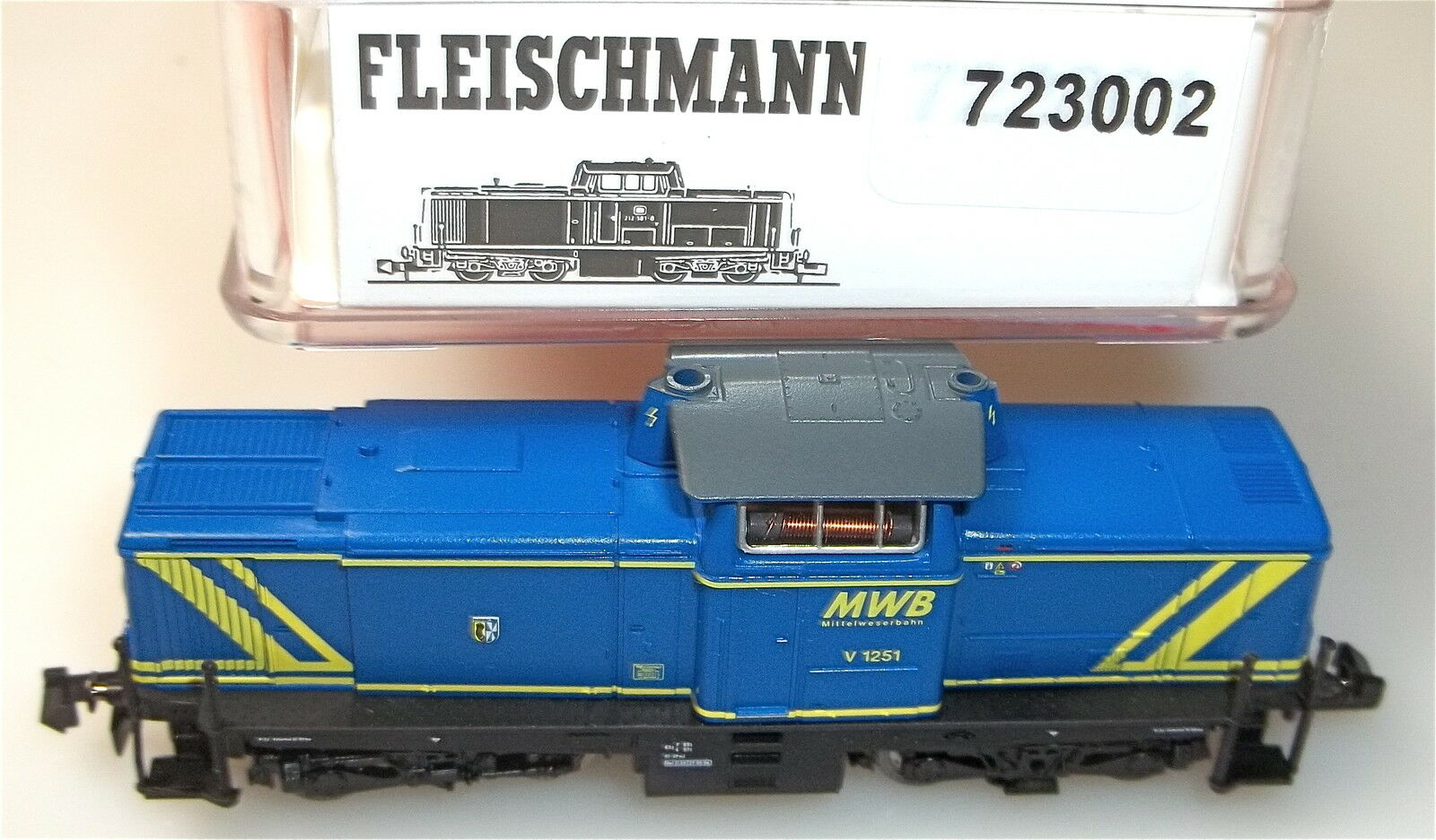 Diesellok V 12 la concedió mittelweserbahn Fleischmann 723002 nuevo embalaje original 1 160 hs3 µg
