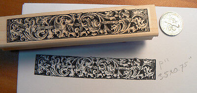 "P11 Leaf border rubber stamp 3.5x0.6"" antique style"