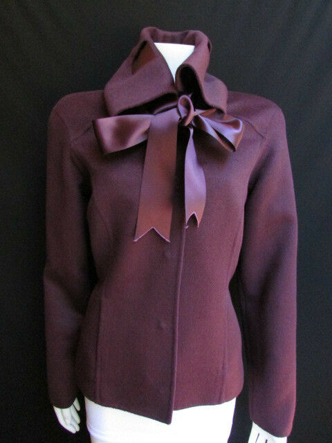 Oscar De La Renta Women Jacket Purple Short Silk Bow Tie Cow Neck Collar 44/10