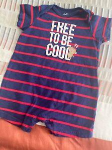 Bebe Ninos Pantalones Cortos Azul Marino Rayas Rojas Puente Libre Para Ser Fresco Mono 6 9 Mo Wow Ebay