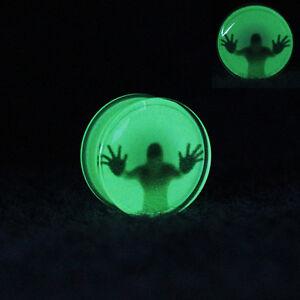 TRAPPED-MAN-GLOW-IN-THE-DARK-Acrylic-Ear-Plugs-Piercing-Jewellery-Tunnels-PL109