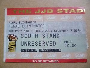 Ticket Super League Final Eliminator 6 October 2001 - Ilford, United Kingdom - Ticket Super League Final Eliminator 6 October 2001 - Ilford, United Kingdom