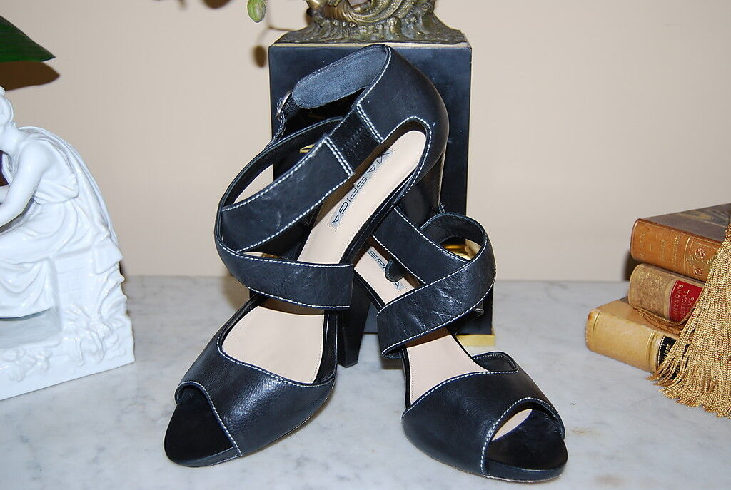 VIA SPIGA BLACK LEATHER CROSSED STRAP PEEP TOE HIGH HEEL WOMEN'S Schuhe SIZE 10 M