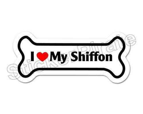 I Love My shiffon Dog Bone Autocollant Decal DB 276