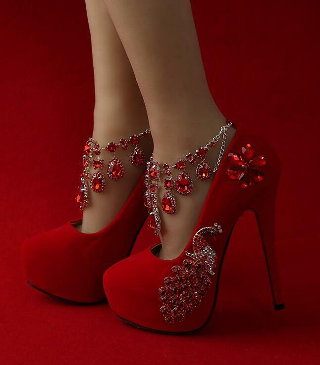 Women's Platform Flowers Stilettos Rhinestones High Heels Wedding Bridal Shoes