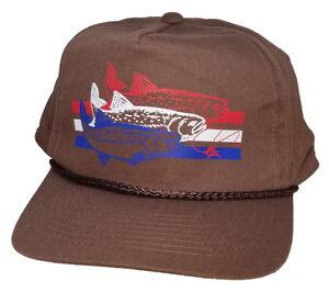 best sneakers 62def 20f87 Image is loading Trout-Brown-Striped-Snapback-Boardwalk-Hat-Cap-Fly-