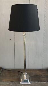 Edle-Lampe-Tischlampe-silber-schwarz-H-53-5-cm-Metall-Light-amp-Living