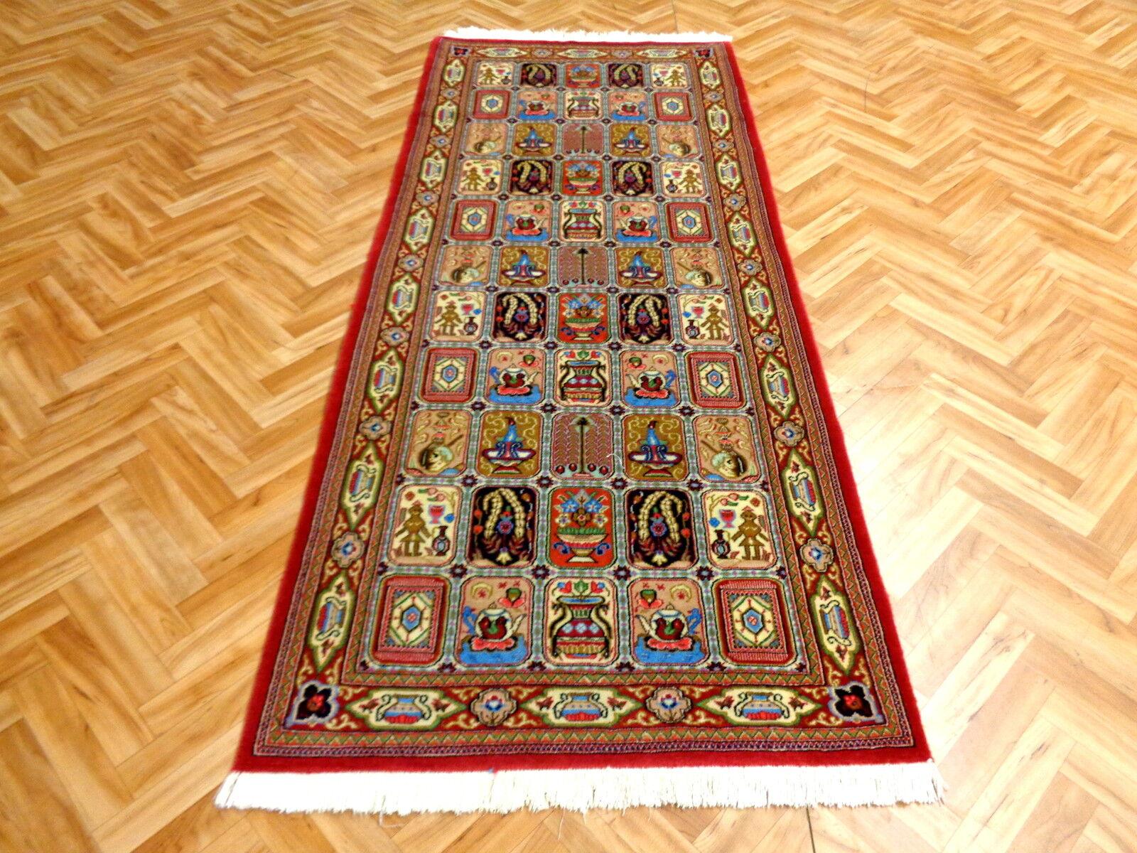 Orientteppich Feiner Teppich mit Seide+Kork Läufer  200x84  Pure Pure Pure Luxus Unikat fab071