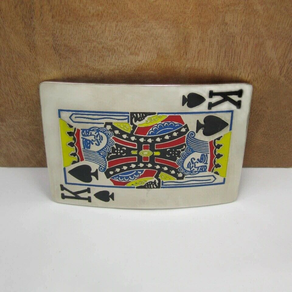 Mens King Of Spades Gambling Casino Cards Biker Outlaw Fashion Belt Buckle