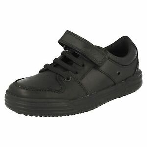 be6bd4a73 Boys SALE Clarks Chad Slide Inf Black Leather strap School Shoes