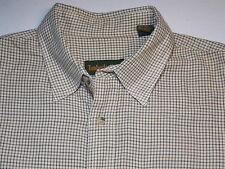 Timberland Micro check shirt in tan rust and blue (Sz Large) Pristine!