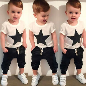 Cool-Toddler-Kids-Baby-Boys-Set-Cotton-T-shirt-Tops-Harem-Pants-Outfits-Clothes