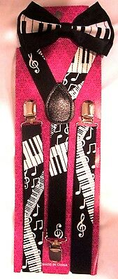 Black White MUSICAL NOTES PIANO KEYS Suspenders + Piano Keys Bowtie Bow Tie