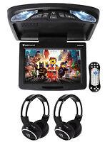 Rockville Rvd12hd-bk 12 Black Flip Down Car Monitor Dvd/usb Player+headphones