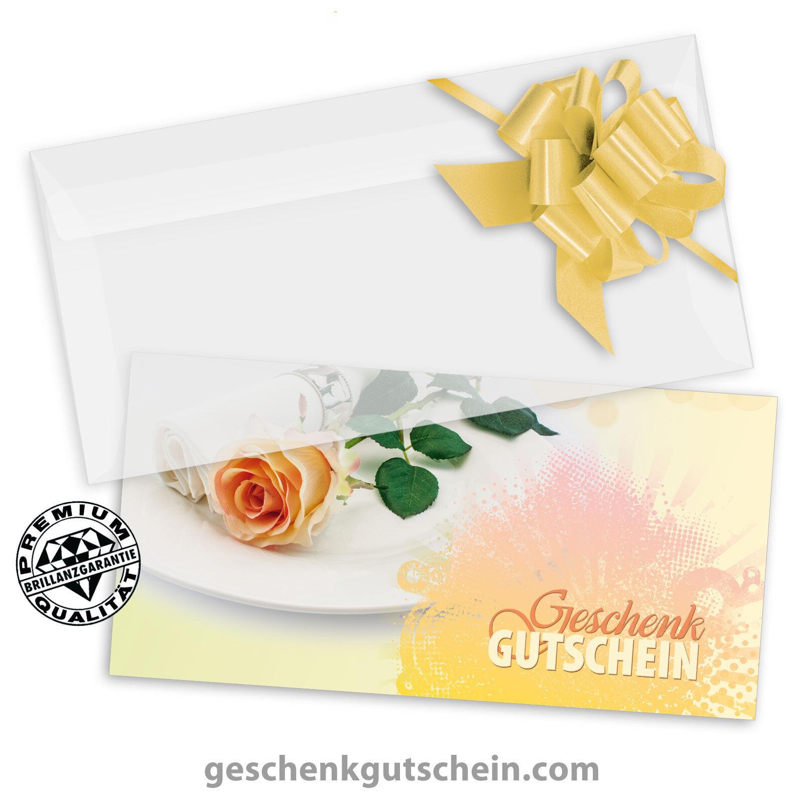 Gutscheinkarten  DINlang  mit KuGrüns und Schleifen für Restaurants G92002