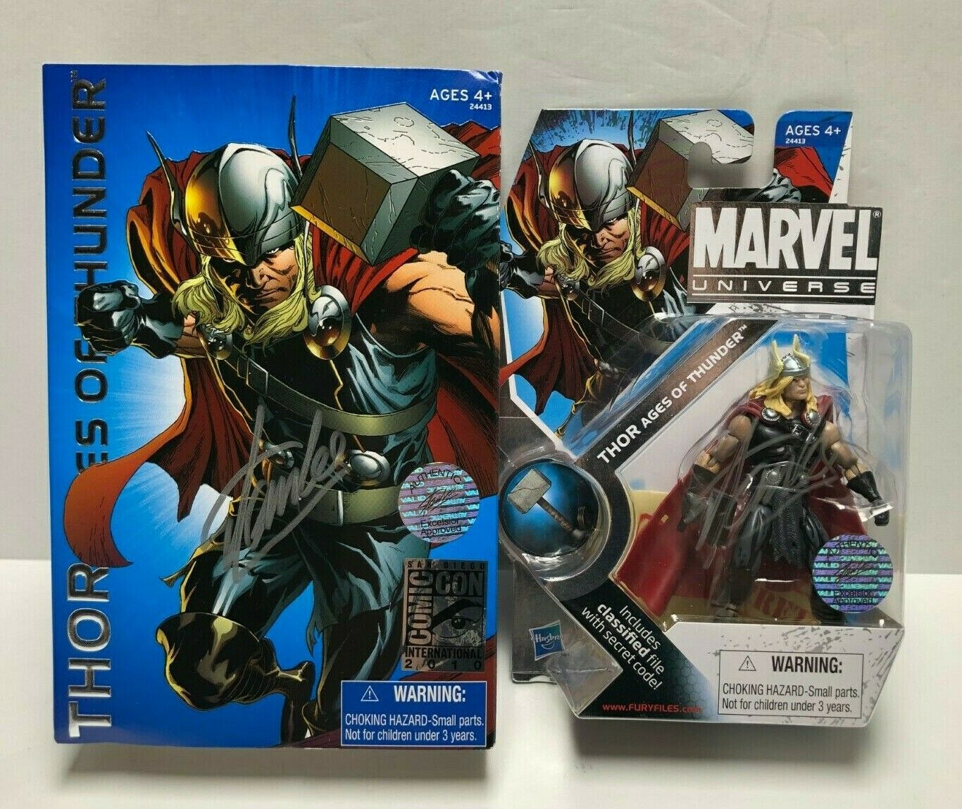 Stan Lee signed 2010 SDCC Exclusive Marvel Universe Thor figure EXCELSIOR COA