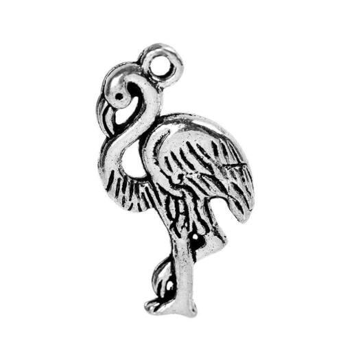 23x13mm 10pcs silver toned flamingo charms size