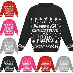 Kids Childrens Merry Christmas Ya Filthy Animal Xmas Knitted Jumper
